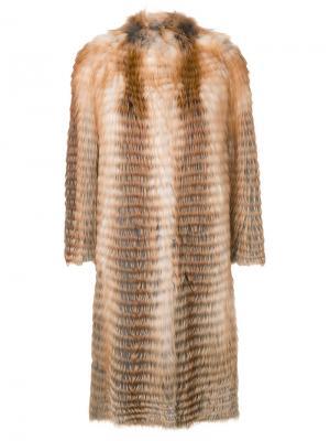Пальто миди без воротника Liska. Цвет: коричневый