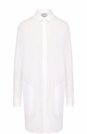 Хлопковое платье-рубашка с накладными карманами Acne Studios. Цвет: белый