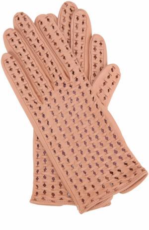 Кожаные перчатки с перфорацией Agnelle. Цвет: розовый