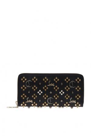 Кожаный кошелек W Panettone Christian Louboutin. Цвет: черный