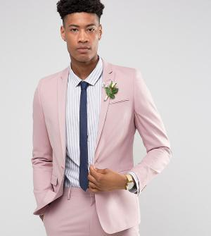 ASOS Приталенный пиджак пыльно-розового цвета TALL Wedding. Цвет: розовый