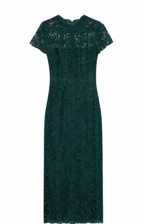 Кружевное облегающее платье с коротким рукавом Valentino. Цвет: зеленый