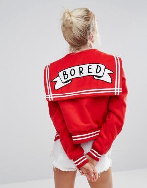 Lazy Oaf Университетская куртка с надписью Bored. Цвет: красный