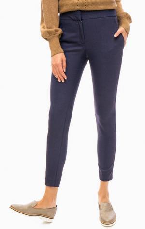 Укороченные брюки зауженного кроя TRUCCO. Цвет: синий