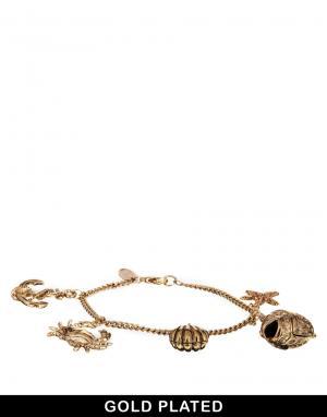 Позолоченный браслет с подвесками в морском стиле And Mary. Цвет: золотой