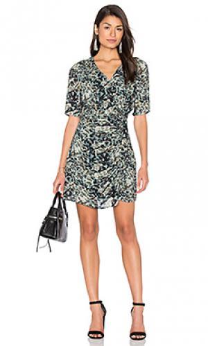 Платье с запахом длинным рукавом и тропическими принтами IKKS Paris. Цвет: серовато-зеленый