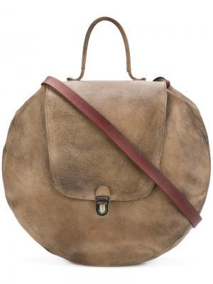 Круглая сумка на плечо с эффектом потертости Cherevichkiotvichki. Цвет: коричневый