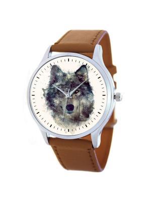 Дизайнерские часы Волк Tina Bolotina. Цвет: коричневый, кремовый