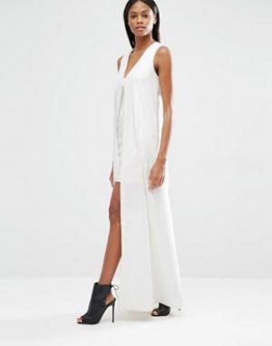 Lavish Alice Платье мини с шифоновым верхним слоем. Цвет: белый