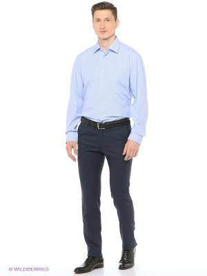 Рубашка мужская с длинным рукавом в клетку Mr. Marten. Цвет: синий