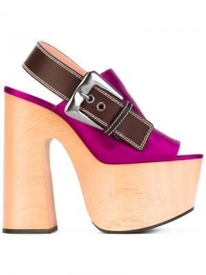 Босоножки на платформе с ремешком пятке Rochas. Цвет: розовый и фиолетовый