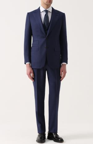 Шерстяной костюм-тройка Ermenegildo Zegna. Цвет: темно-синий
