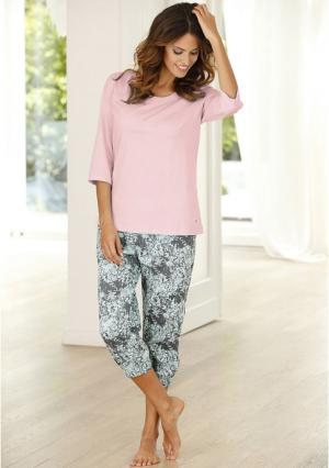 Пижама-капри Buffalo. Цвет: мятный с рисунком, розовый с рисунком, темно-серый с рисунком