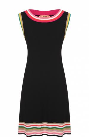 Мини-платье прямого кроя с контрастной отделкой No. 21. Цвет: черный