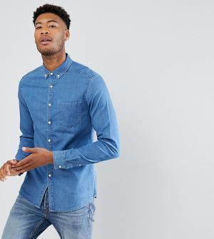 ASOS Эластичная джинсовая рубашка TALL. Цвет: синий