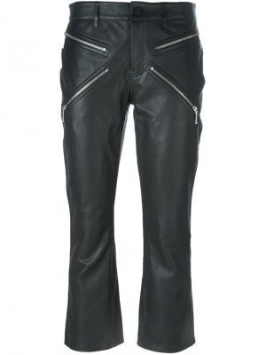 Укороченные кожаные брюки Alexander Wang. Цвет: чёрный