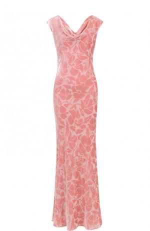 Приталенное платье-макси с бархатной отделкой St. John. Цвет: розовый
