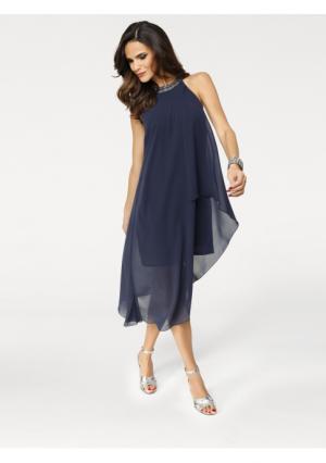 Коктейльное платье Ashley Brooke. Цвет: красный, темно-синий