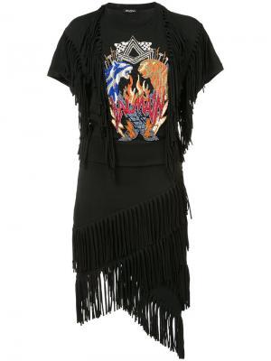 Декорированное платье с бахромой Balmain. Цвет: чёрный