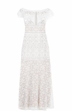 Кружевное платье-макси с открытыми плечами Tadashi Shoji. Цвет: светло-бежевый