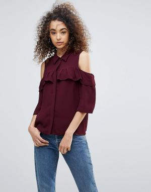 Gestuz Рубашка с открытыми плечами и оборками Genine. Цвет: красный