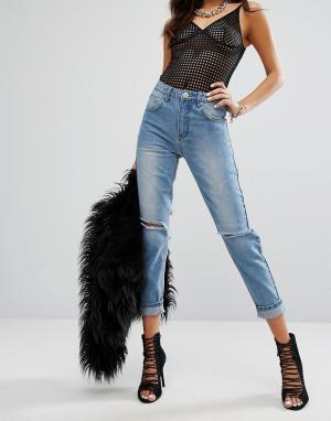 PrettyLittleThing Светлые джинсы в винтажном стиле. Цвет: синий