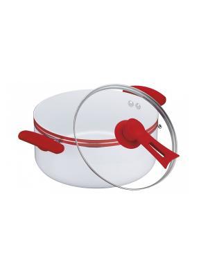 Кастрюля керамика (газ/электро/индукция/духовка) 8,1 л Peterhof. Цвет: белый, красный