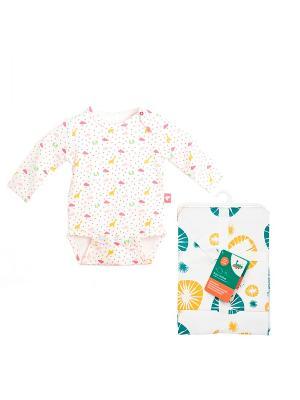 Комплект Боди с длинным рукавом, 1 шт.+ Салфетки для кормления, 2 шт. HappyBabyDays. Цвет: розовый, желтый