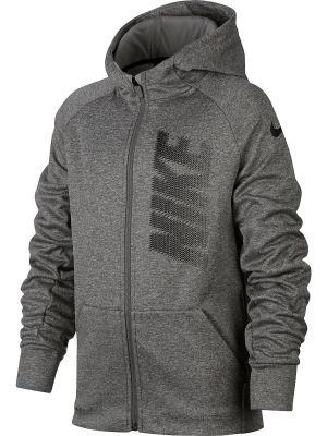 Толстовка B NK THRMA HOODIE FZ GFX Nike. Цвет: темно-серый
