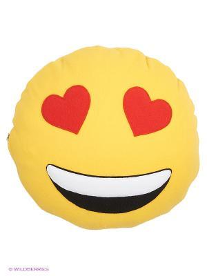 Подушка флисовый смайл Безумаоттебя ЛисФлис. Цвет: желтый