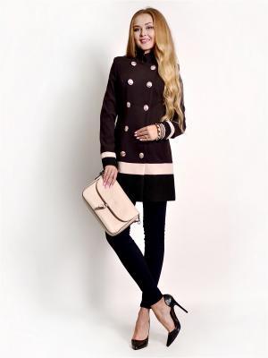 Пальто FRANCESCA LUCINI. Цвет: коричневый, бежевый, черный