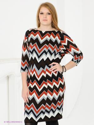 Платье Magnolica. Цвет: коричневый, белый, черный