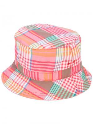 Клетчатая шляпа-ведро Thom Browne. Цвет: розовый и фиолетовый