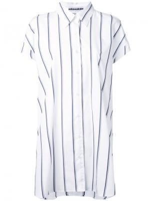 Удлиненная рубашка в полоску Mikio Sakabe. Цвет: белый