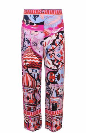 Шелковые брюки прямого кроя с ярким принтом Emilio Pucci. Цвет: фиолетовый