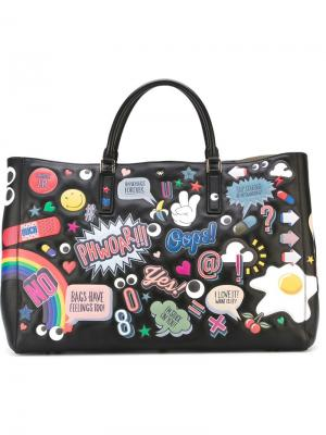 Сумка-тоут Ebury all-over stickers Anya Hindmarch. Цвет: чёрный