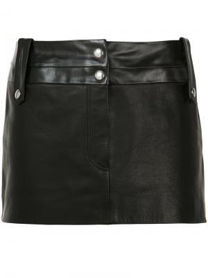 Короткая кожаная юбка Beau Souci. Цвет: чёрный