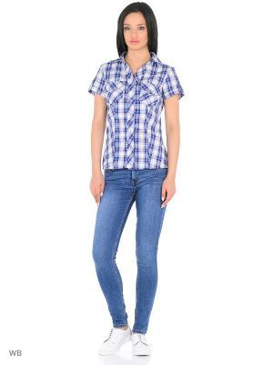 Блузка HomeLike. Цвет: синий, белый