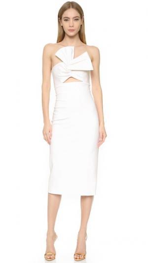 Платье без бретелек с бантом спереди Cushnie Et Ochs. Цвет: белый
