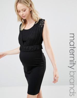 Mama.licious Платье-футляр для беременных с баской Mamalicious Nursing. Цвет: черный