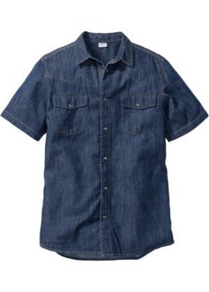 Джинсовая рубашка зауженного покроя (темно-синий) bonprix. Цвет: темно-синий
