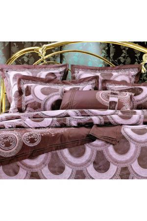 Постельное белье Евро - 4 нав. ТекСтильный Каприз. Цвет: сливовый, грязно-розовый