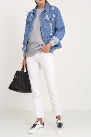 Белые кроссовки с декором Dolce&Gabbana. Цвет: белый