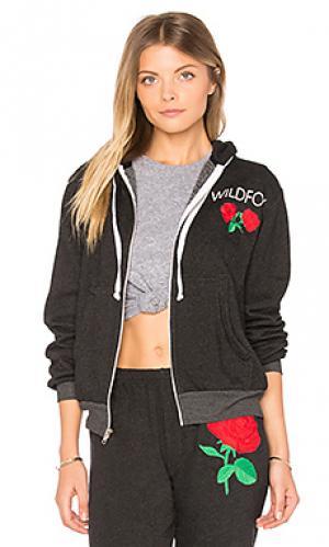 Свитшот с капюшоном wild rose Wildfox Couture. Цвет: черный