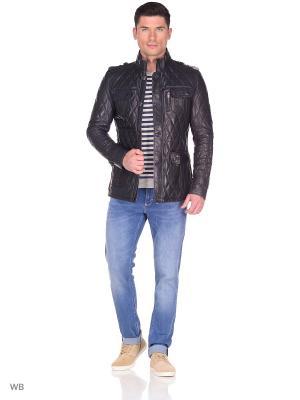 Стеганая кожаная куртка MONDIAL. Цвет: темно-синий