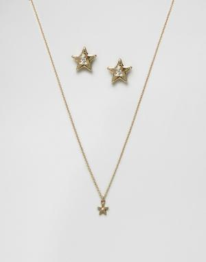 Johnny Loves Rosie Новогодний подарочный набор из ожерелья и сережек со звездами L. Цвет: золотой