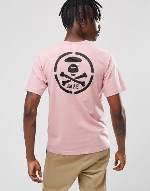 AAPE BY A BATHING APE Футболка с принтом на спине. Цвет: розовый