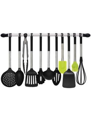 Набор кухонных аксессуаров 12 предметов с держателем Borner. Цвет: черный