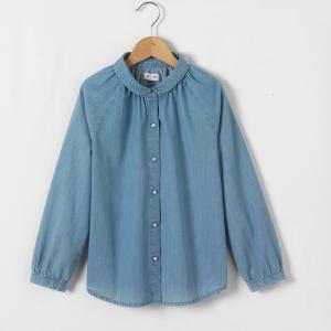 Рубашка из денима, 3-12 лет La Redoute Collections. Цвет: синий поетртый