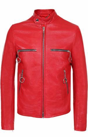 Кожаная куртка на молнии с воротником-стойкой Balenciaga. Цвет: красный